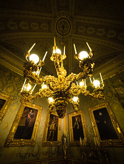Gilded Wood Chandelier (buddythunder) Tags: travel europe 2016 italy florence wideangle gilded guilding wood chandelier portraits paintings symmetry gold golden rich opulent lavish palace pitti palazzo warm dim dark moody