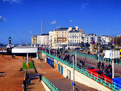 Brighton Seafront from the Ferris Wheel (photphobia) Tags: brighton beach pebbles eastsussex southeast southeastengland seaside seafront sea sky blue bluesky oldwivestale pier water coast ferriswheel wheel reflection reflections glare mirror glass outdoor landscape shore buildings building buildingsarebeautiful architecture