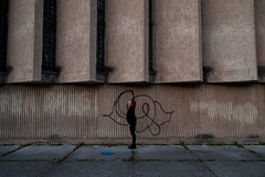 Standing in the Middle (modestmoze) Tags: architecture edge 2016 september autumn 500px day lines sidewalk path lithuania vilnius standing middle graffitti writings black grey white green grass city one girl girlfriend outside outdoors shadows glass windows metal old history historical