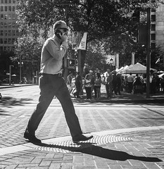 On Call (TMimages PDX) Tags: iphoneography photography image photo photograph streetscene fineartphotography geotagged people urban city street streetphotography portland pacificnorthwest sidewalk pedestrians buildings avenue road blackandwhite monochrome vignette