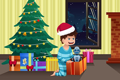 Boy opening a present under the Christmas tree (hungcus) Tags: vector illustration cartoon drawing clipart modern kid present gift christmas christmastree opening child boy male young youth people childhood xmas celebration celebrate holiday season seasonal happy happiness excited cute tradition festive home toy boxes