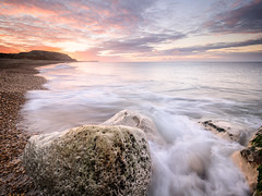 First blush (Andrew H-W) Tags: lee autumn water landscape season weather southborne graduated 2016 imagetype filters places dorset sea tripod clouds hengistburyhead time 3stop gran sunrise waves seascape hard 09 uk andrewhaywardwills