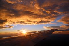 2016_10_03_lhr-ewr_146 (dsearls) Tags: 20161003 lhrewr sunset altittude flying newyork newjersey aerial windowseat windowshot united ual unitedairlines aviation wing airplane boeing boeing767 blue sky orange clouds pink altostratus altocumulus stratus sun