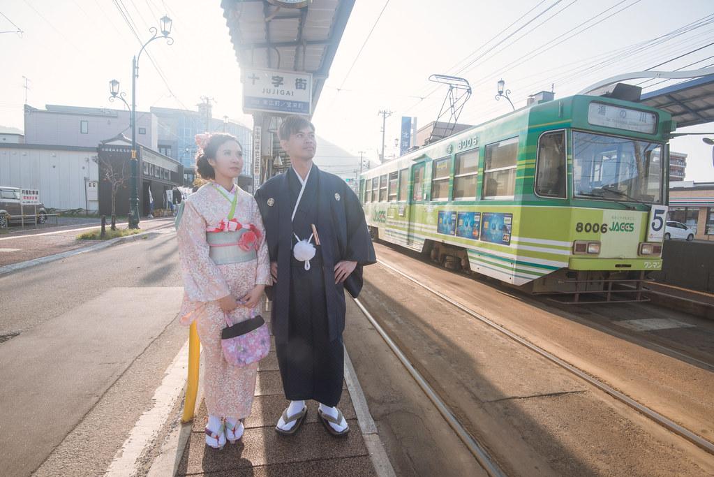 日本北海道婚紗,函館婚紗,和服婚紗,電車婚紗,復古電車,函館十字街,海外婚紗