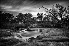 Outback Stream (Darkelf Photography) Tags: western australia outback river stream flow longexposure newnorcia landscape clouds nature travel mono monochrome blackandwhite bw littlestopper lee filter polariser canon 24105mm 5diii maciek gornisiewicz darkelf photography 2016