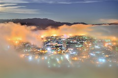 101~~  Donuts misty (Shang-fu Dai) Tags:  taiwan nikon d800      donuts coloredglasslight liulilazurite landscape formosa nightscene nantou  misty af2870mm