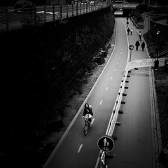 bicycle lane (s_inagaki) Tags: bicycle snap helsinki finland blackandwhite bnw bw street