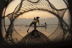 Bagan Fisherman (tray_tables_up) Tags: myanmar bagan fisherman asia sunrise morning monochrome water brilliant