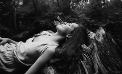a misty flower I (VelannaRay) Tags: autumn landscape nature magic film forest bw beauty black concept dream mood outdoor wood people tree inner girl monochrome mist portrait