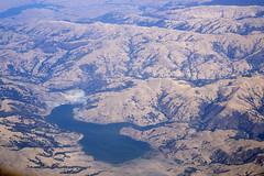 Aerial view of Calaveras Reservoir and the Calaveras Fault, Alameda County, California (cocoi_m) Tags: aerialphotograph aerial calaverasreservoir namesake calaverasfault alamedacounty california nature geology geomorphology spillway seismicretrofit