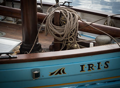 Blue Iris (S's images) Tags: brixham harbour sailing boat rope knots painted wood blue yellow