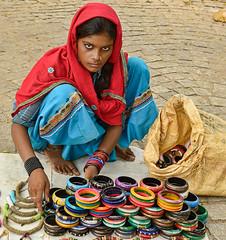Indian girl selling bangles in Kochi (Fort Cochin), India (jitenshaman) Tags: travel woman india girl beauty asian asia indian kerala destination vendor tradition sell sari cochin kochi bangles subcontinent fortcochin worldlocations
