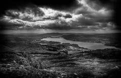 Lake Windermere from Wansfell - #Explored (asheers) Tags: bw lake monochrome grass mono lakedistrict lakewindermere silverefex