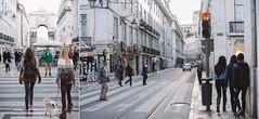 Lisbon crosswalk stories (Joo Paulo Figueiredo) Tags: street camera city girls people urban dog portugal digital 50mm reflex nikon diptych lisboa lisbon f14 candid 14 sigma fullframe dslr crosswalk fx 50 zebracrossing 1150 wideopen 1147 d600 jpfigueiredo sigma50mmf14exdghsm