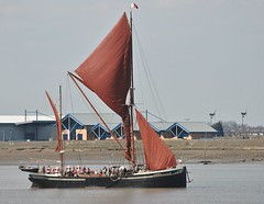 Wind (robbierunciman) Tags: red london thames river boats kent victoriapark mud wind ships tourists historic estuary sail essex turbine lowwater renewable tilbury rnli gravesend thamessailingbarge