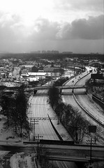 I-95 Winter (jpmacmillan) Tags: new york nyc winter sky blackandwhite bw white snow ny newyork black ice skyline train highway snowy bronx tracks gothamist interstate newrochelle 2010 westchester i95 parkchester lowerwestchester