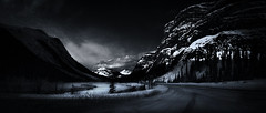 Midnight Mountains (Stevie Parker) Tags: snow canada mountains landscape jaspernationalpark banffnationalpark canadianrockies bwlandscapes fujix10
