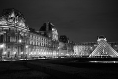 Le Louvre (koalie) Tags: bw paris france night ledefrance nightshot nb clear lelouvre longweekend pyramidedulouvre louvrepyramid 201211paris 2012fallparis