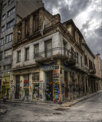 Athens: City of Graffiti... (Explored) (Hans Kool) Tags: old history abandoned greek graffiti nikon closed close culture athens demonstration greece hdr athene cultuur griekenland griek vervallen demontrate economical grieken 1024mm cryisis