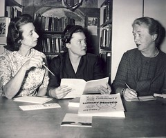 Mrs. Arthur Nolan, book fair chair, Mrs. David Jackson, National Library Week chair, and Mrs. Herman Werner, board member. February 20, 1961 (aacpl) Tags: nationallibraryweek aacpl