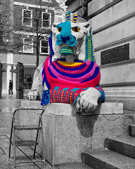 Yarn Bombed! ((James Clay) Boom-Stick) Tags: nottingham bw art geotagged blackwhite unitedkingdom explore gb geotag nottinghamshire marketsquare oldmarketsquare leftlion selectivecolour selectivecolouring explored guerrillaknitting yarnbombing yarnbomb yarnbombed