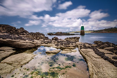 flickr2 (guix29) Tags: longexposure blue sea sky cloud seascape france green beach water rock landscape sand sable wave bretagne bleu boulders ciel shore nuage vague plage rochers verte finistre balise dourven