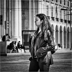 What hurts today, makes you stronger tomorrow (John Riper) Tags: johnriper street photography straatfotografie square bw black white zwartwit mono monochrome candid john riper canon 6d 24105 l woman lisbon lisboa portugal girl young lady bokeh contemplating wires rails cool hair curly zwvk