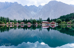 Reflections (Umair Nasir's) Tags: shangrila skardu pakistan kachura resort morning mountains trees huts lake reflection