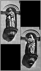 10 - Nantes, Eglise Sainte-Croix, Faade, Statues de la Vierge douloureuse et de sainte Madeleine (melina1965) Tags: pays de loire loireatlantique nantes juillet july 2016 nikon d80 noiretblanc blackandwhite bw mosaque mosaques mosaic mosaics collages collage sculpture sculptures staue staues faade faades glise glises church churches