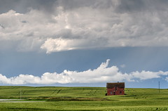Red House (TigerPal) Tags: saskatchewan sask prairie plains backroads flatland myhouse southey house farmhouse farm brick landscape clouds cloud cloudporn dustyroad gravelroad abandoned forgotten