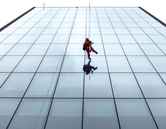 Building Ballet (stephenbryan825) Tags: liverpool mannisland buildings glass graphic man manatwindow menatwork reflection selects windowcleaners