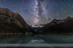 The Milky Way over Lake Louise #3 (Amazing Sky Photography) Tags: altair aquila banffnationalpark lakelouise milkyway rockies rockymountains sodoublecluster scutum victoriaglacier continentaldivide darksky lightpollution nightsky reflection starcloud stars