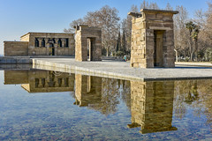 Egypt in Madrid (Ivanov Andrey) Tags: thetemple sanctuary egypt history museum complex arch perspective archaeology architecture water reflection coast sky cloud blue city area walk journey madrid spain