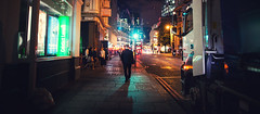 Headlight (Florian Btow) Tags: city london walking man street night lights wide england uk urban photography movie film shadow spotlight 16x7