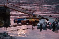 Sunset Boats (ajmurtha) Tags: disko greenland qerqertaarsuaq water boats reflections sunset qerqertarsuaq