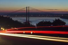 Tacoma Narrows & Lights (Dave Kellman) Tags: pugetsound suspensionbridge bridge tacoma washington lights night lighttrails cars tacomanarrowsbridges tacomanarrows tacomawashington longexposure sunset color