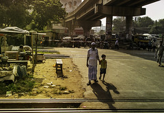 Progeny & Senior (negative_charge) Tags: train progeny senior young older city flyover sunlight life