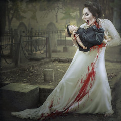 'Maternal Nocturnal the Turn' (Natasha Root Photography) Tags: natasharootphotography imagine inspire create vampire turn nocturnal blood bloody teeth fangs keep halloween bit bite undead baby painterly cemetery square maker