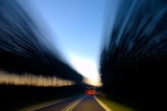 Warp-speed travel towards the light! (* mariozysk *) Tags: light darkness night travel road speed enterprise star treck truck trees wiato forest las droga podr le long exposure dugi czas prdko drzewa ciemno mariozysk noc pentax k5