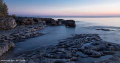 Rocky Shores (maureen.elliott) Tags: rock rocky shoreline sunset landscape lakehuron evening skies whiskeyharbour brucepeninsula water