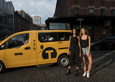 Private Eyes (Blinkofanaye) Tags: private eyes nyc nyfw models aline lima taxi yellow girls sunset shorts blonde brunette jeans black brazilian street voyeur man