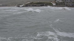 Perranporth high tide - worth watching to see a gull being swamped by a wave in slow motion (John D F) Tags: perranporth storm hightide video bigwaves