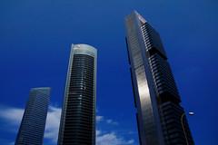 Tres torres (Miguel Angel Prieto Ciudad) Tags: city street blue buildings clouds europe tower urban architecture cityscape building spain madrid ciudad torres espaa