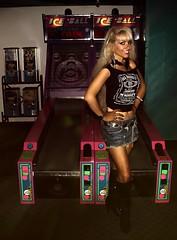 Arcade Girl Skee-Ball (I*Am*The*Great*Moon*Goddess*) Tags: arcade girl skee ball long blonde hair booty shorts denim black leather boots retro m70s 80s century 3 mall west mifflin pa jack daniels shirt