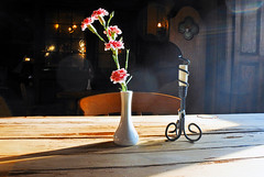 Still Life (Dun.can) Tags: stilllife carnation flower light pink candle shadow anneofcleves pub meltonmowbray bokeh dof