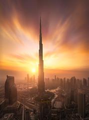 Flame Khalifa (albert dros) Tags: haze tourism sunrise sunset travel tower skyscrapers albertdros city cityscape burkkhalifa emirates uae dubai
