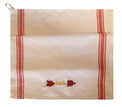 Hostess Towel Poinsettia (initial_impressions) Tags: embroidered personalized christmasholidaytowel homespuntowelwithwovenstripes hostesstowel kitchentowel guesttowel poinsettia