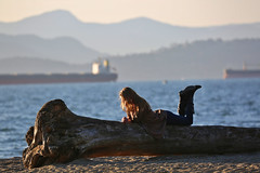 On the phone (dVaffection) Tags: englishbay vancouver canada phone beach girl people mountains ocean ship