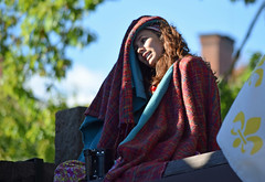 Girl on the Roof (MTSOfan) Tags: girl woman roof sitting peasant blanket greeter parf renaissancefaire