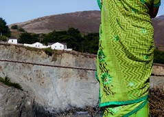 I'm Sari You're So Far Away (Zee Jenkins) Tags: juxtaposition cliff landsend muirwoods tourist overlook textile pattern green saree sari landscape